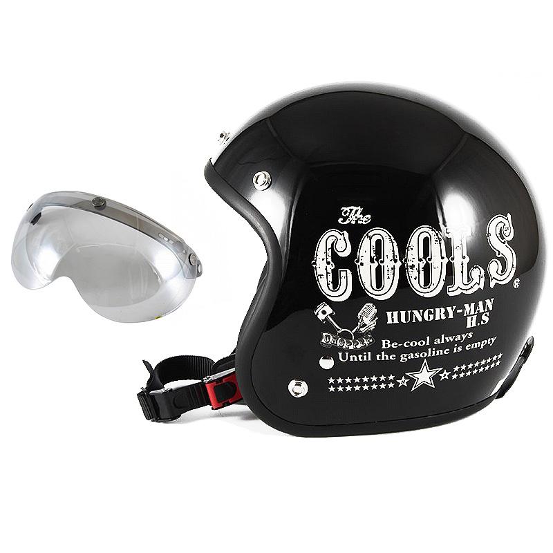 72JAM デザイナーズジェットヘルメット [HM-01] 開閉シールド付き [APS-04]COOLS HUNGRY MAN ハングリーマン ブラック [ブラックベースグロス仕上げ]2サイズ メンズ レディース 兼用品 SG規格 全排気量対応
