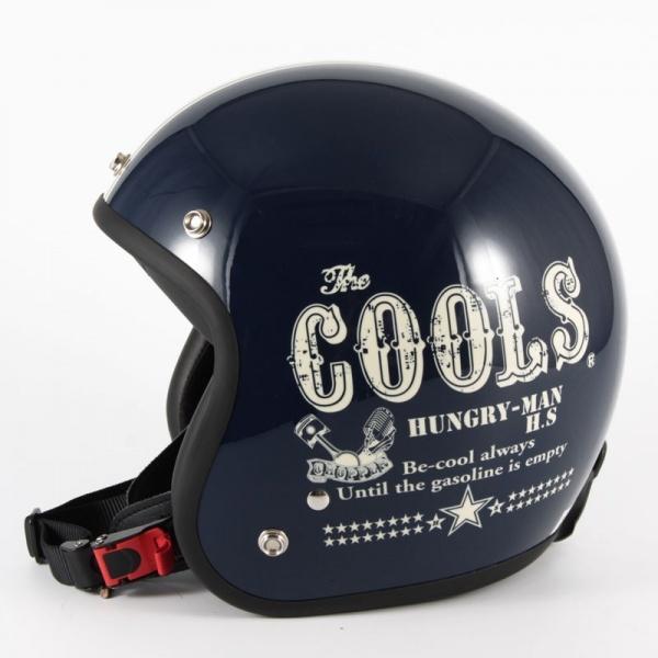 72JAM デザイナーズジェットヘルメット [HM-02]COOLS HUNGRY MAN ハングリーマン ネイビー [ネイビーベースグロス仕上げ]2サイズ メンズ レディース 兼用品 SG規格 全排気量対応
