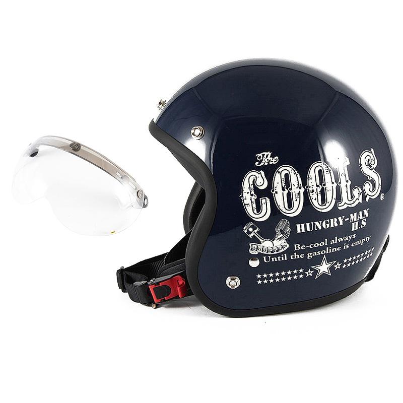 72JAM デザイナーズジェットヘルメット [HM-02] 開閉シールド付き [APS-01]COOLS HUNGRY MAN ハングリーマン ネイビー [ネイビーベースグロス仕上げ]2サイズ メンズ レディース 兼用品 SG規格 全排気量対応