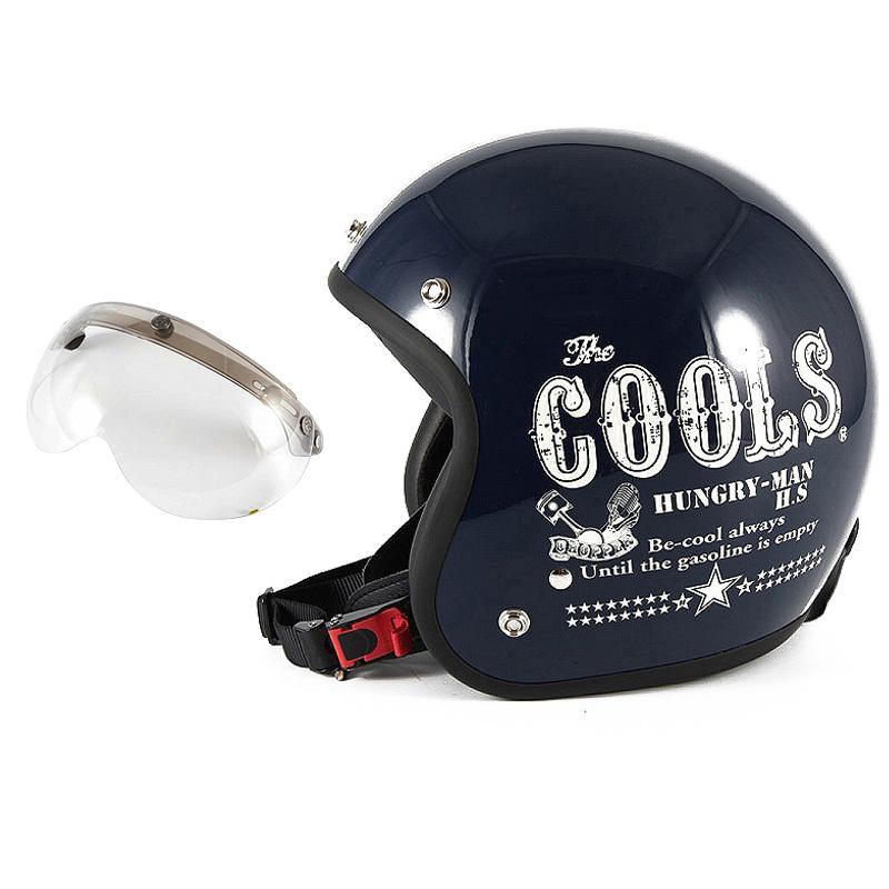 72JAM デザイナーズジェットヘルメット [HM-02] 開閉シールド付き [APS-03]COOLS HUNGRY MAN ハングリーマン ネイビー [ネイビーベースグロス仕上げ]2サイズ メンズ レディース 兼用品 SG規格 全排気量対応