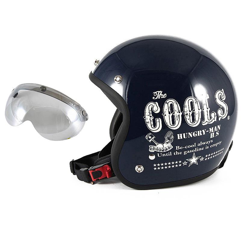 72JAM デザイナーズジェットヘルメット [HM-02] 開閉シールド付き [APS-04]COOLS HUNGRY MAN ハングリーマン ネイビー [ネイビーベースグロス仕上げ]2サイズ メンズ レディース 兼用品 SG規格 全排気量対応