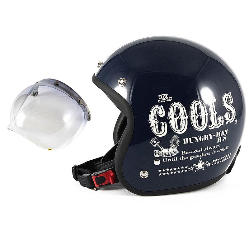 72JAM デザイナーズジェットヘルメット [HM-02] 開閉シールド付き [JCBN-05]COOLS HUNGRY MAN ハングリーマン ネイビー [ネイビーベースグロス仕上げ]2サイズ メンズ レディース 兼用品 SG規格 全排気量対応
