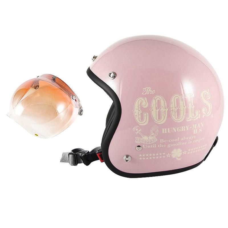 72JAM デザイナーズジェットヘルメット [HM-04] 開閉シールド付き [JCBN-04]COOLS HUNGRY MAN ピンク レディース [ピンクベースグロス仕上げ]レディースサイズ(55-57cm未満) レディース SG規格 全排気量対応
