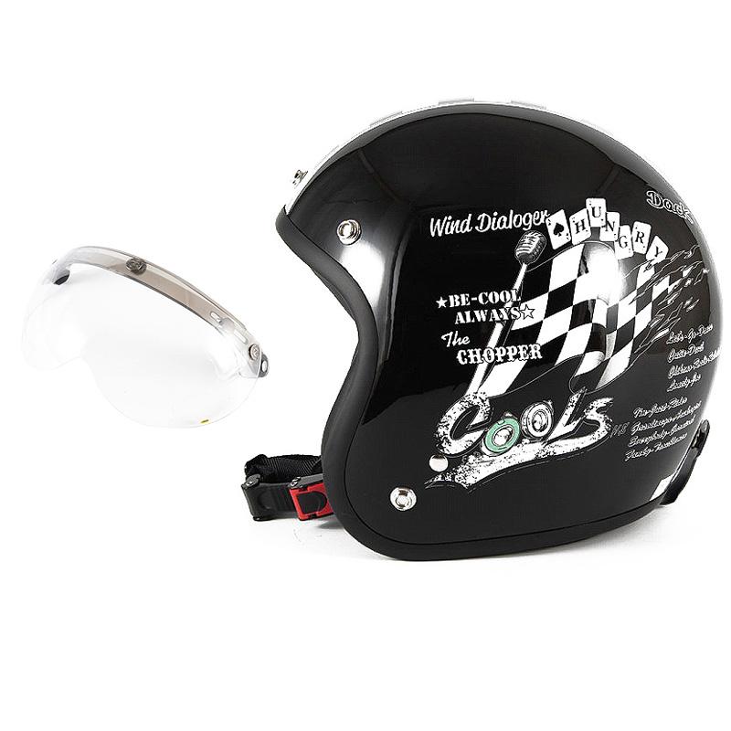 72JAM デザイナーズジェットヘルメット [HMW-05] 開閉シールド付き [APS-01]COOLS WIND DIALOGER ウィンドダイアロガー ブラック [ブラックベースグロス仕上げ]2サイズ メンズ レディース 兼用品 SG規格 全排気量対応