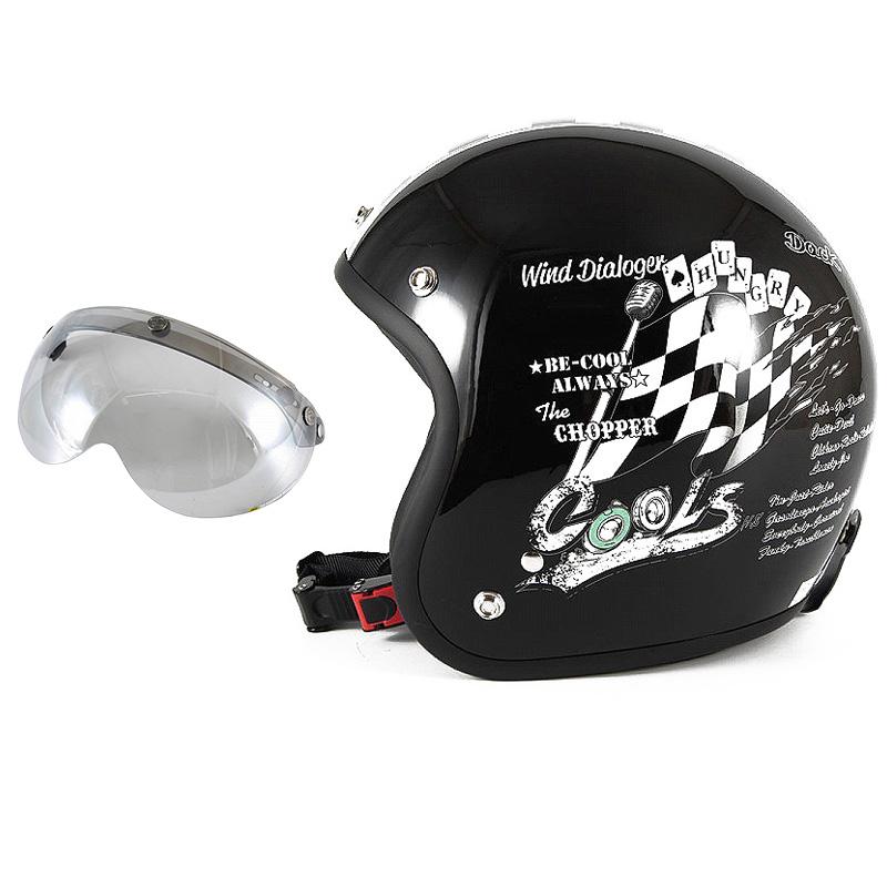 72JAM デザイナーズジェットヘルメット [HMW-05] 開閉シールド付き [APS-04]COOLS WIND DIALOGER ウィンドダイアロガー ブラック [ブラックベースグロス仕上げ]2サイズ メンズ レディース 兼用品 SG規格 全排気量対応