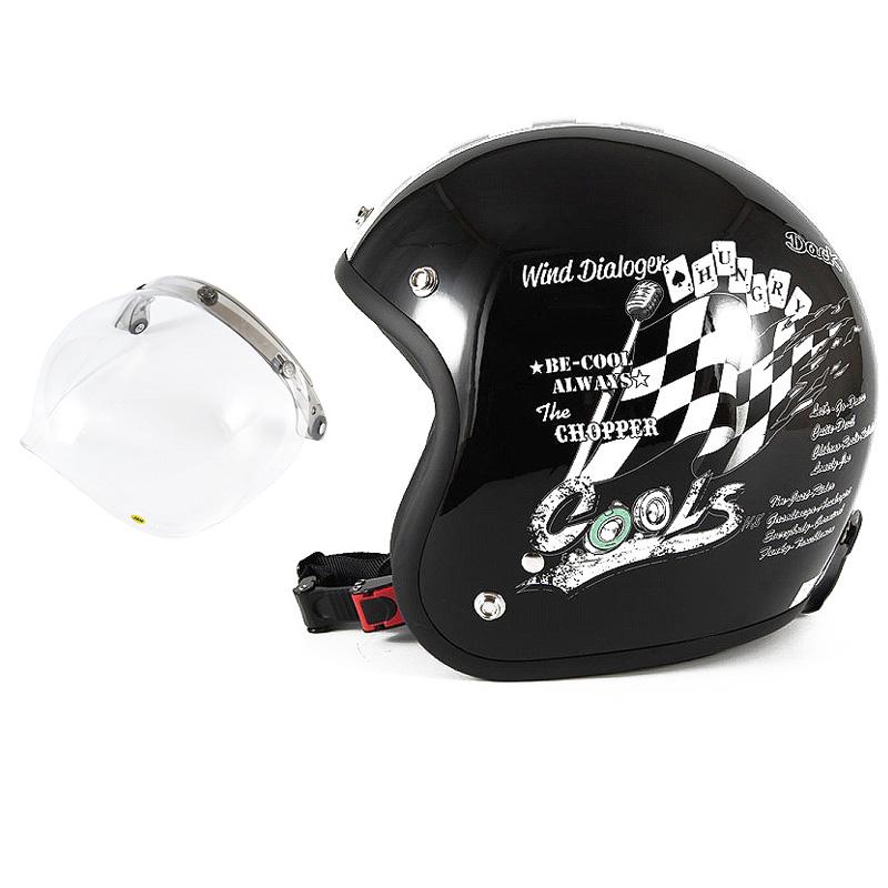 72JAM デザイナーズジェットヘルメット [HMW-05] 開閉シールド付き [JCBN-01]COOLS WIND DIALOGER ウィンドダイアロガー ブラック [ブラックベースグロス仕上げ]2サイズ メンズ レディース 兼用品 SG規格 全排気量対応