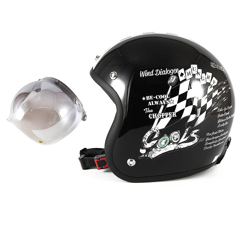 72JAM デザイナーズジェットヘルメット [HMW-05] 開閉シールド付き [JCBN-03]COOLS WIND DIALOGER ウィンドダイアロガー ブラック [ブラックベースグロス仕上げ]2サイズ メンズ レディース 兼用品 SG規格 全排気量対応