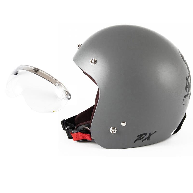 72JAM デザイナーズジェットヘルメット [IK-01] 開閉シールド付き [APS-01]IKURA Moon dogs イクラムーンドッグス グレー [クールグレーベースマット仕上げ]FREEサイズ(57-60cm未満) メンズ レディース 兼用品 SG規格 全排気量対応