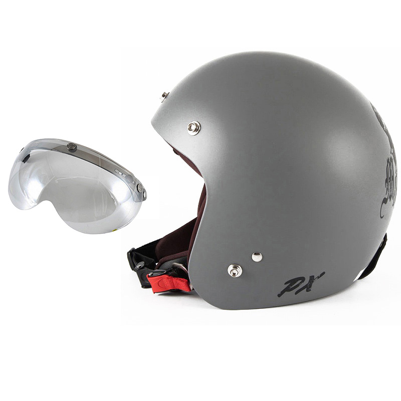 72JAM デザイナーズジェットヘルメット [IK-01] 開閉シールド付き [APS-04]IKURA Moon dogs イクラムーンドッグス グレー [クールグレーベースマット仕上げ]FREEサイズ(57-60cm未満) メンズ レディース 兼用品 SG規格 全排気量対応