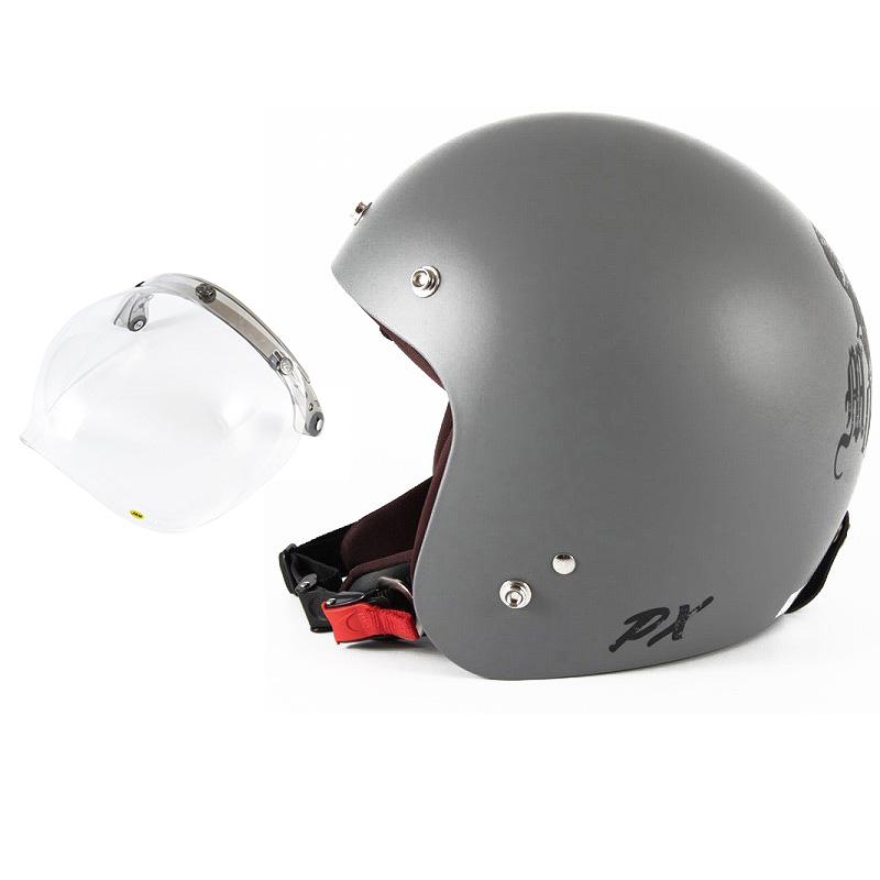 72JAM デザイナーズジェットヘルメット [IK-01] 開閉シールド付き [JCBN-01]IKURA Moon dogs イクラムーンドッグス グレー [クールグレーベースマット仕上げ]FREEサイズ(57-60cm未満) メンズ レディース 兼用品 SG規格 全排気量対応
