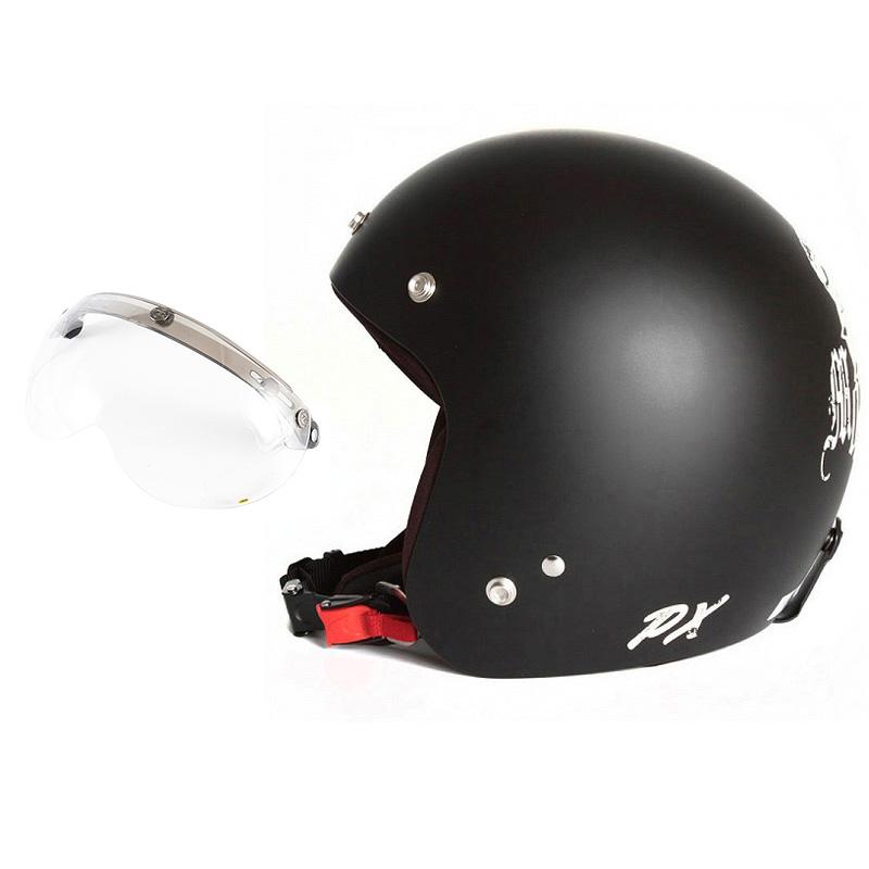 72JAM デザイナーズジェットヘルメット [IK-02] 開閉シールド付き [APS-01]IKURA Moon dogs イクラムーンドッグス ブラック [クールブラックベースマット仕上げ]FREEサイズ(57-60cm未満) メンズ レディース 兼用品 SG規格 全排気量対応