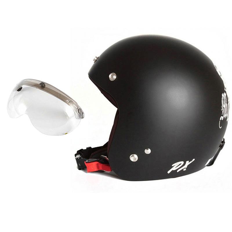 72JAM デザイナーズジェットヘルメット [IK-02] 開閉シールド付き [APS-03]IKURA Moon dogs イクラムーンドッグス ブラック [クールブラックベースマット仕上げ]FREEサイズ(57-60cm未満) メンズ レディース 兼用品 SG規格 全排気量対応