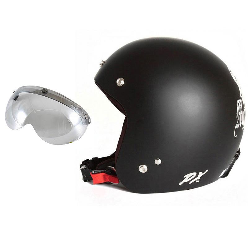 72JAM デザイナーズジェットヘルメット [IK-02] 開閉シールド付き [APS-04]IKURA Moon dogs イクラムーンドッグス ブラック [クールブラックベースマット仕上げ]FREEサイズ(57-60cm未満) メンズ レディース 兼用品 SG規格 全排気量対応