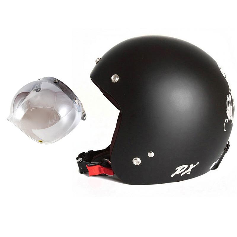 72JAM デザイナーズジェットヘルメット [IK-02] 開閉シールド付き [JCBN-03]IKURA Moon dogs イクラムーンドッグス ブラック [クールブラックベースマット仕上げ]FREEサイズ(57-60cm未満) メンズ レディース 兼用品 SG規格 全排気量対応