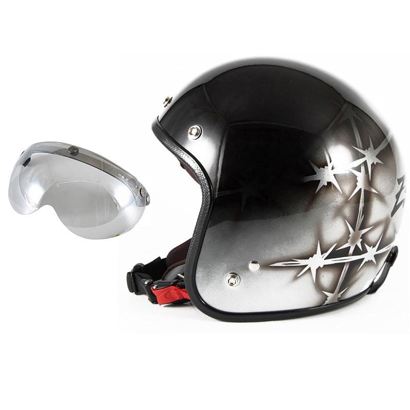 72JAM デザイナーズジェットヘルメット [JCP-04] 開閉シールド付き [APS-04]ZEKE ジーク シルバー [ブラック/シルバーベースグロス仕上げ]FREEサイズ(57-60cm未満) メンズ レディース 兼用品 SG規格 全排気量対応