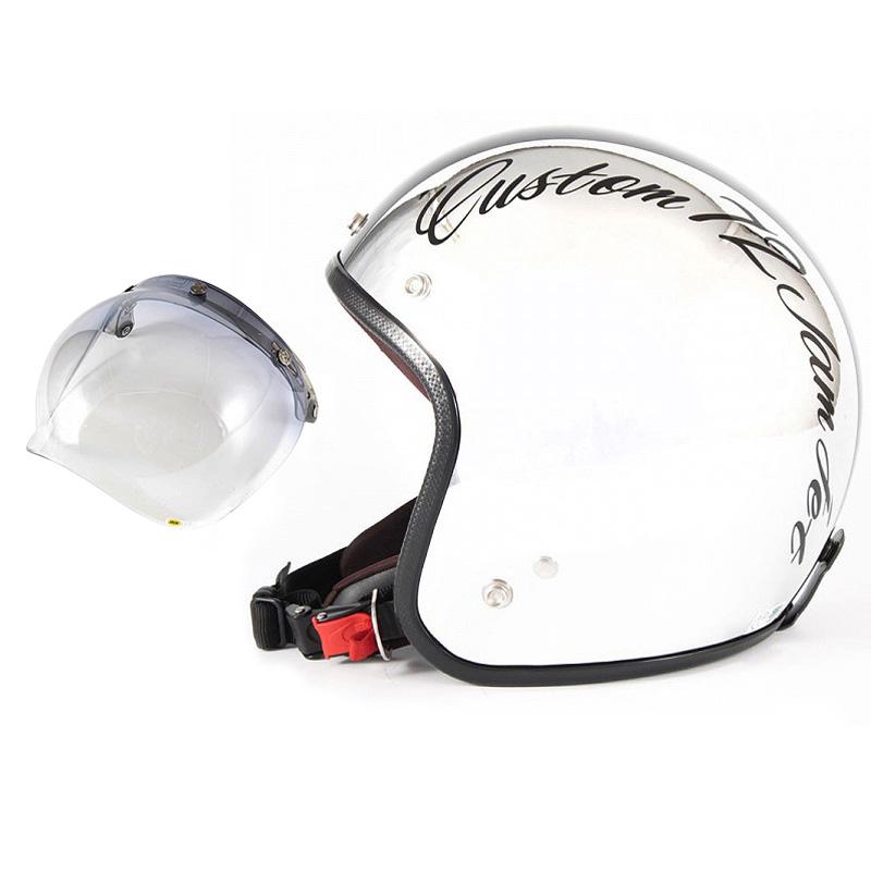 72JAM デザイナーズジェットヘルメット [JCP-06] 開閉シールド付き [JCBN-05]CHROMES CM/BK クロームズ ブラック [クロームメッキベースグロス仕上げ]FREEサイズ(57-60cm未満) メンズ レディース 兼用品 SG規格 全排気量対応