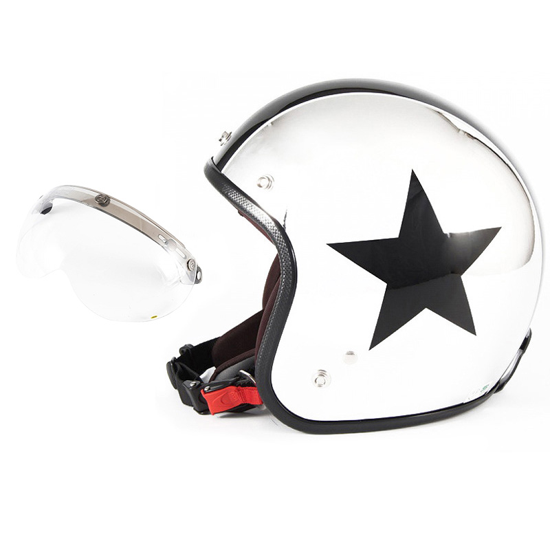 72JAM デザイナーズジェットヘルメット [JCP-10] 開閉シールド付き [APS-01]CHROMES TWIN STAR クロームズツインスター メッキ [クロームメッキベースグロス仕上げ]FREEサイズ(57-60cm未満) メンズ レディース 兼用品 SG規格 全排気量対応