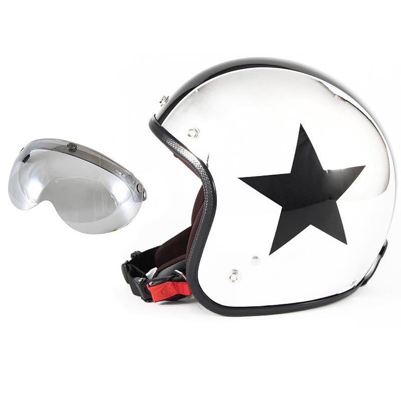 72JAM デザイナーズジェットヘルメット [JCP-10] 開閉シールド付き [APS-04]CHROMES TWIN STAR クロームズツインスター メッキ [クロームメッキベースグロス仕上げ]FREEサイズ(57-60cm未満) メンズ レディース 兼用品 SG規格 全排気量対応