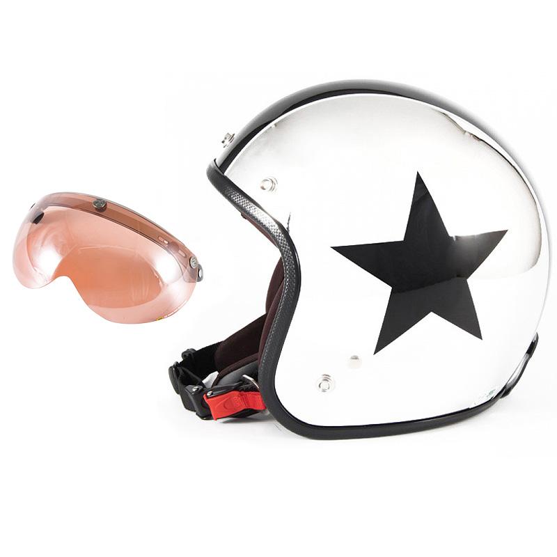 72JAM デザイナーズジェットヘルメット [JCP-10] 開閉シールド付き [APS-05]CHROMES TWIN STAR クロームズツインスター メッキ [クロームメッキベースグロス仕上げ]FREEサイズ(57-60cm未満) メンズ レディース 兼用品 SG規格 全排気量対応