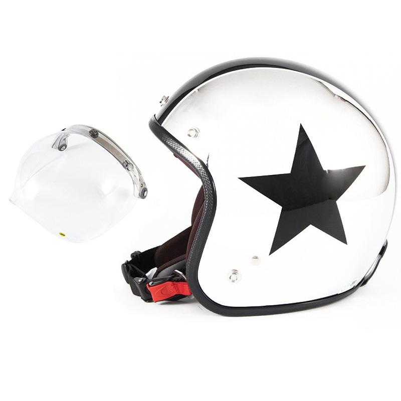 72JAM デザイナーズジェットヘルメット [JCP-10] 開閉シールド付き [JCBN-01]CHROMES TWIN STAR クロームズツインスター メッキ [クロームメッキベースグロス仕上げ]FREEサイズ(57-60cm未満) メンズ レディース 兼用品 SG規格 全排気量対応