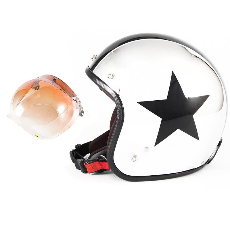 72JAM デザイナーズジェットヘルメット [JCP-10] 開閉シールド付き [JCBN-04]CHROMES TWIN STAR クロームズツインスター メッキ [クロームメッキベースグロス仕上げ]FREEサイズ(57-60cm未満) メンズ レディース 兼用品 SG規格 全排気量対応