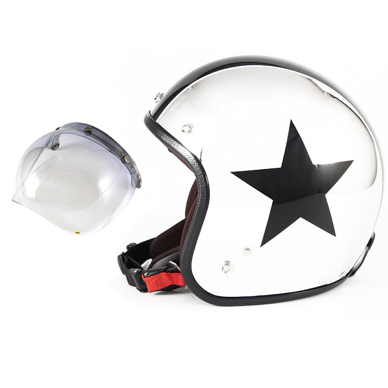 72JAM デザイナーズジェットヘルメット [JCP-10] 開閉シールド付き [JCBN-05]CHROMES TWIN STAR クロームズツインスター メッキ [クロームメッキベースグロス仕上げ]FREEサイズ(57-60cm未満) メンズ レディース 兼用品 SG規格 全排気量対応