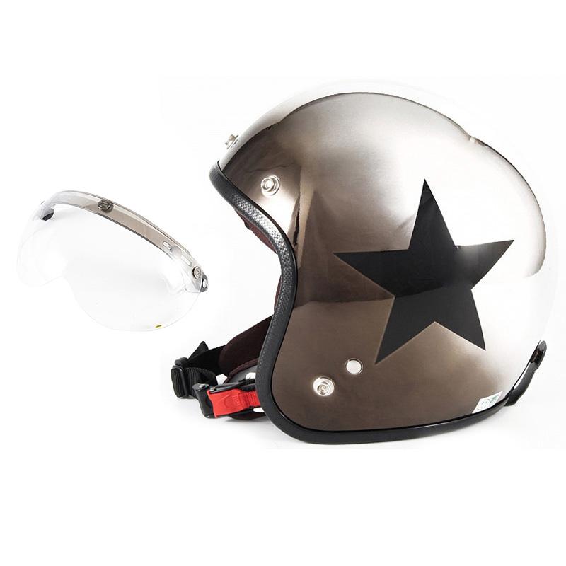 72JAM デザイナーズジェットヘルメット [JCP-11] 開閉シールド付き [APS-01]CHROMES CLASSICAL STAR クロームズクラシカルスター メッキ [ブラッククロームグラデーションベースグロス仕上げ]FREEサイズ(57-60cm未満) メンズ レディース 兼用品 SG 全排気量対応