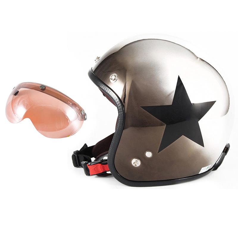 72JAM デザイナーズジェットヘルメット [JCP-11] 開閉シールド付き [APS-05]CHROMES CLASSICAL STAR クロームズクラシカルスター メッキ [ブラッククロームグラデーションベースグロス仕上げ]FREEサイズ(57-60cm未満) メンズ レディース 兼用品 SG 全排気量対応