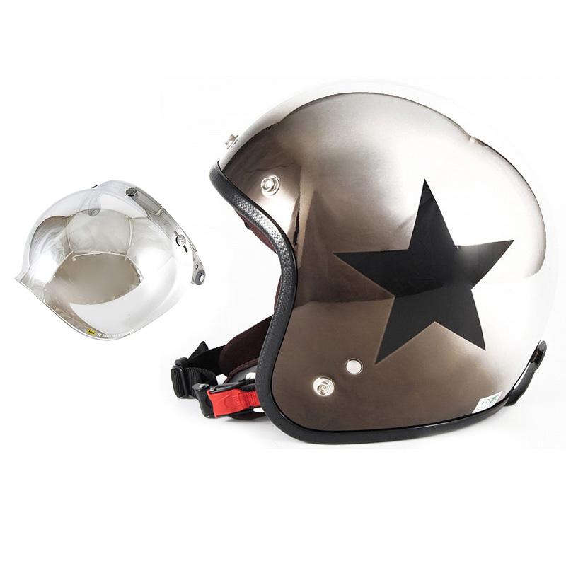 72JAM デザイナーズジェットヘルメット [JCP-11] 開閉シールド付き [JCBN-02]CHROMES CLASSICAL STAR クロームズクラシカルスター メッキ [ブラッククロームグラデーションベースグロス仕上げ]FREEサイズ(57-60cm未満) メンズ レディース 兼用品 SG 全排気量対応