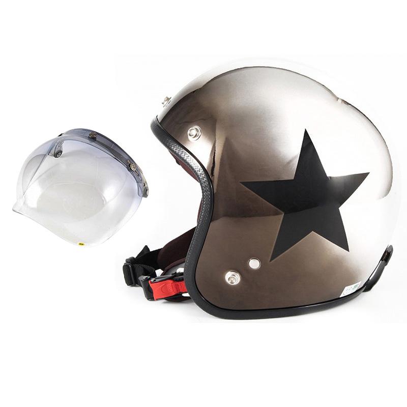 72JAM デザイナーズジェットヘルメット [JCP-11] 開閉シールド付き [JCBN-05]CHROMES CLASSICAL STAR クロームズクラシカルスター メッキ [ブラッククロームグラデーションベースグロス仕上げ]FREEサイズ(57-60cm未満) メンズ レディース 兼用品 SG 全排気量対応