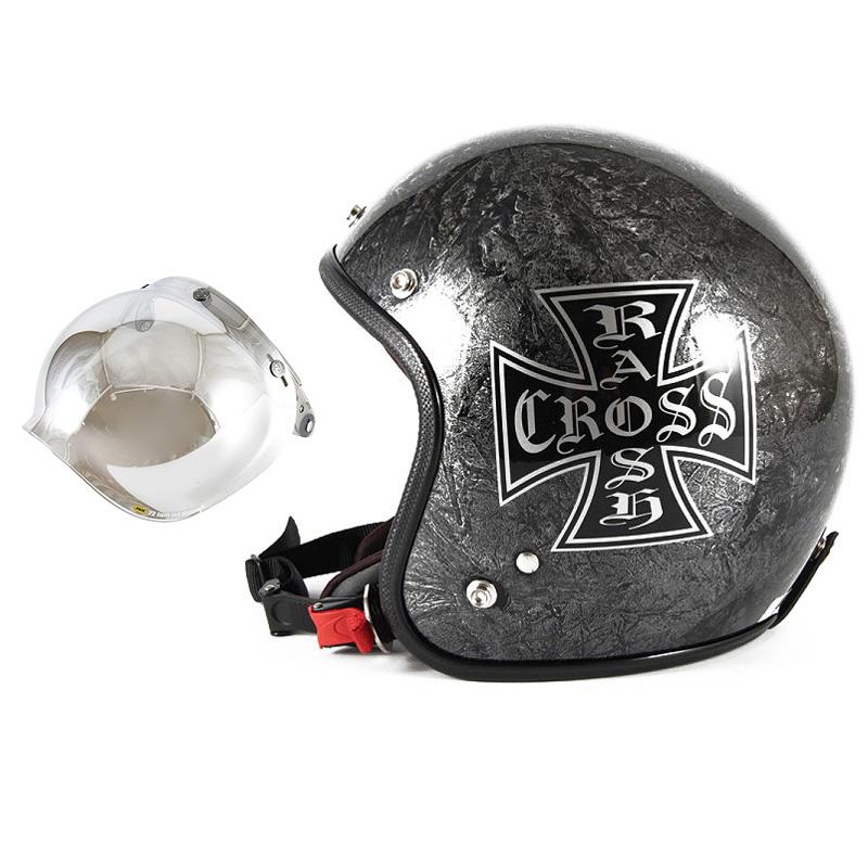 72JAM デザイナーズジェットヘルメット [JCP-12] 開閉シールド付き [JCBN-02]RASH CROSS ラッシュクロス シルバー [シルバーラップベースグロス仕上げ]FREEサイズ(57-60cm未満) メンズ レディース 兼用品 SG規格 全排気量対応