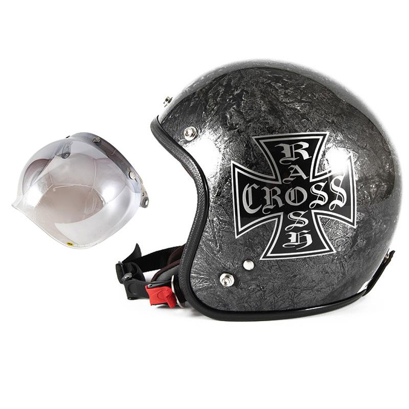 72JAM デザイナーズジェットヘルメット [JCP-12] 開閉シールド付き [JCBN-03]RASH CROSS ラッシュクロス シルバー [シルバーラップベースグロス仕上げ]FREEサイズ(57-60cm未満) メンズ レディース 兼用品 SG規格 全排気量対応