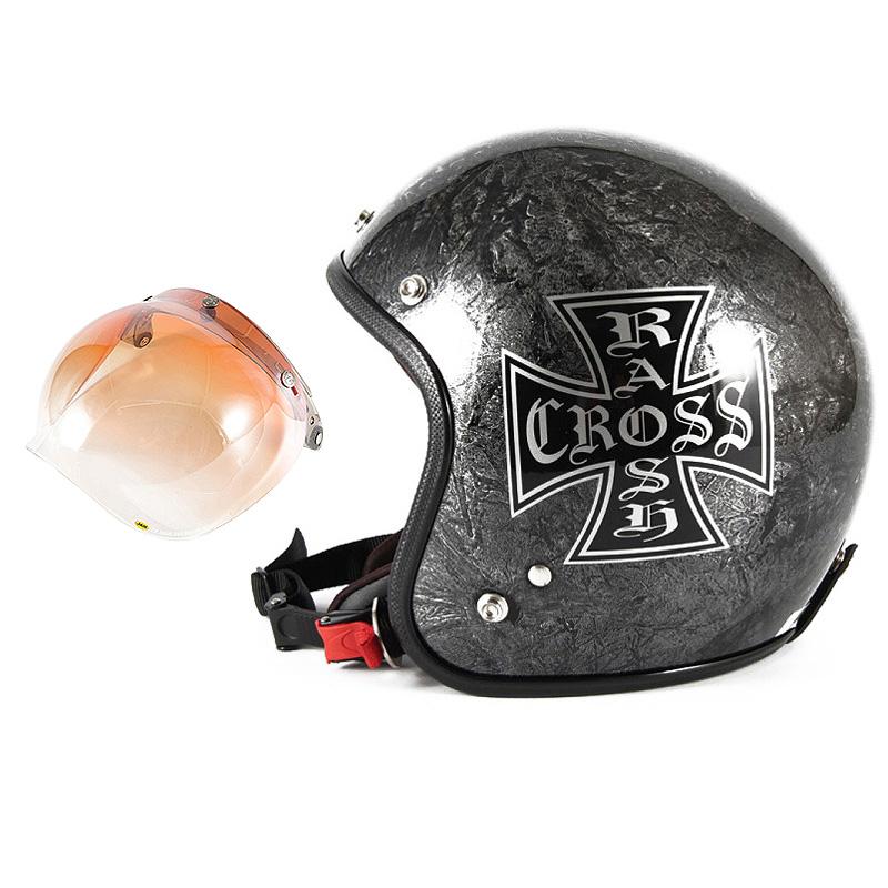 72JAM デザイナーズジェットヘルメット [JCP-12] 開閉シールド付き [JCBN-04]RASH CROSS ラッシュクロス シルバー [シルバーラップベースグロス仕上げ]FREEサイズ(57-60cm未満) メンズ レディース 兼用品 SG規格 全排気量対応