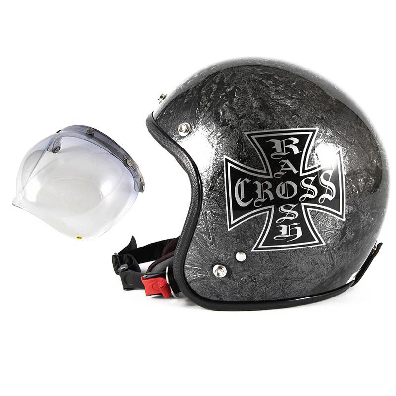 72JAM デザイナーズジェットヘルメット [JCP-12] 開閉シールド付き [JCBN-05]RASH CROSS ラッシュクロス シルバー [シルバーラップベースグロス仕上げ]FREEサイズ(57-60cm未満) メンズ レディース 兼用品 SG規格 全排気量対応