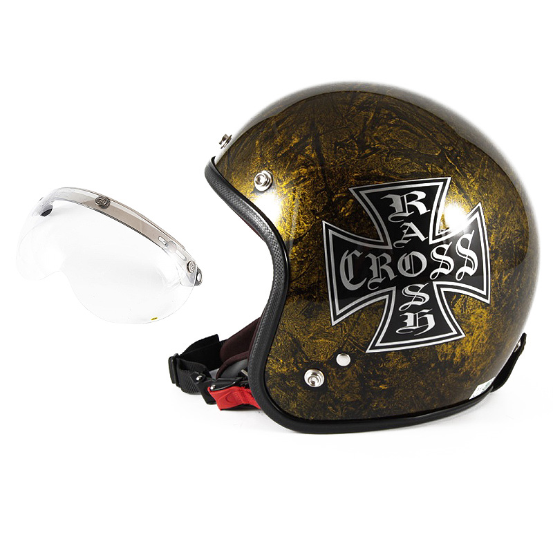 72JAM デザイナーズジェットヘルメット [JCP-13] 開閉シールド付き [APS-01]RASH CROSS ラッシュクロス ゴールド [ゴールドラップベースグロス仕上げ]FREEサイズ(57-60cm未満) メンズ レディース 兼用品 SG規格 全排気量対応