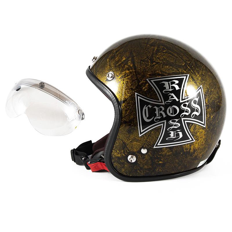 72JAM デザイナーズジェットヘルメット [JCP-13] 開閉シールド付き [APS-02]RASH CROSS ラッシュクロス ゴールド [ゴールドラップベースグロス仕上げ]FREEサイズ(57-60cm未満) メンズ レディース 兼用品 SG規格 全排気量対応
