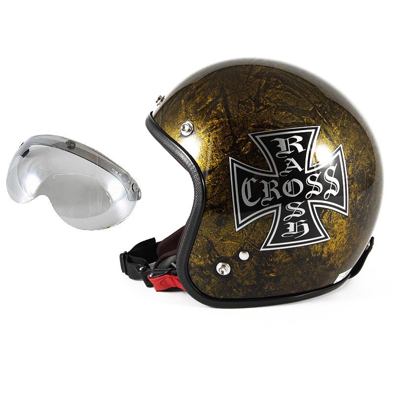 72JAM デザイナーズジェットヘルメット [JCP-13] 開閉シールド付き [APS-04]RASH CROSS ラッシュクロス ゴールド [ゴールドラップベースグロス仕上げ]FREEサイズ(57-60cm未満) メンズ レディース 兼用品 SG規格 全排気量対応