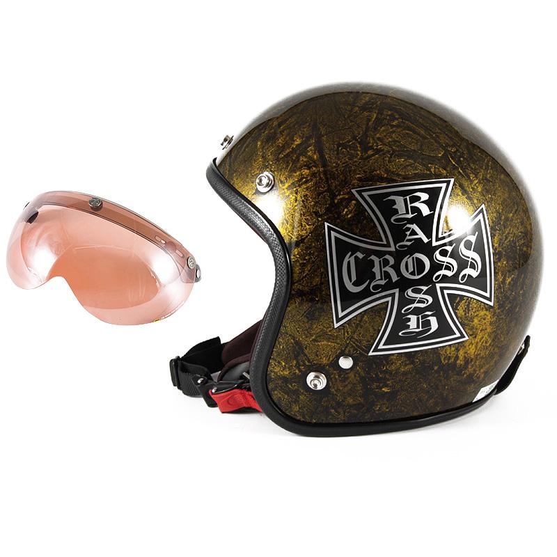 72JAM デザイナーズジェットヘルメット [JCP-13] 開閉シールド付き [APS-05]RASH CROSS ラッシュクロス ゴールド [ゴールドラップベースグロス仕上げ]FREEサイズ(57-60cm未満) メンズ レディース 兼用品 SG規格 全排気量対応