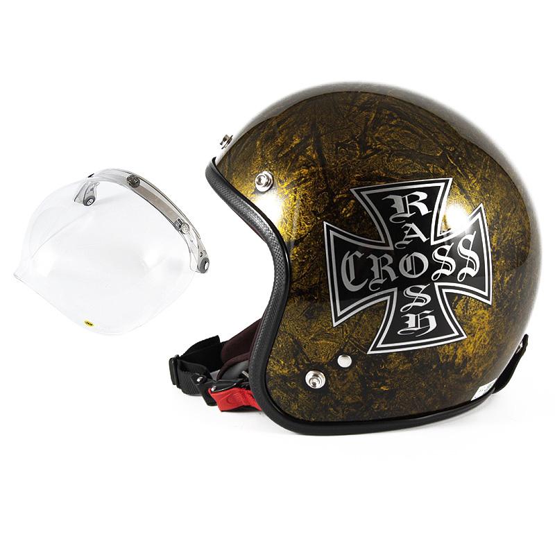 72JAM デザイナーズジェットヘルメット [JCP-13] 開閉シールド付き [JCBN-01]RASH CROSS ラッシュクロス ゴールド [ゴールドラップベースグロス仕上げ]FREEサイズ(57-60cm未満) メンズ レディース 兼用品 SG規格 全排気量対応