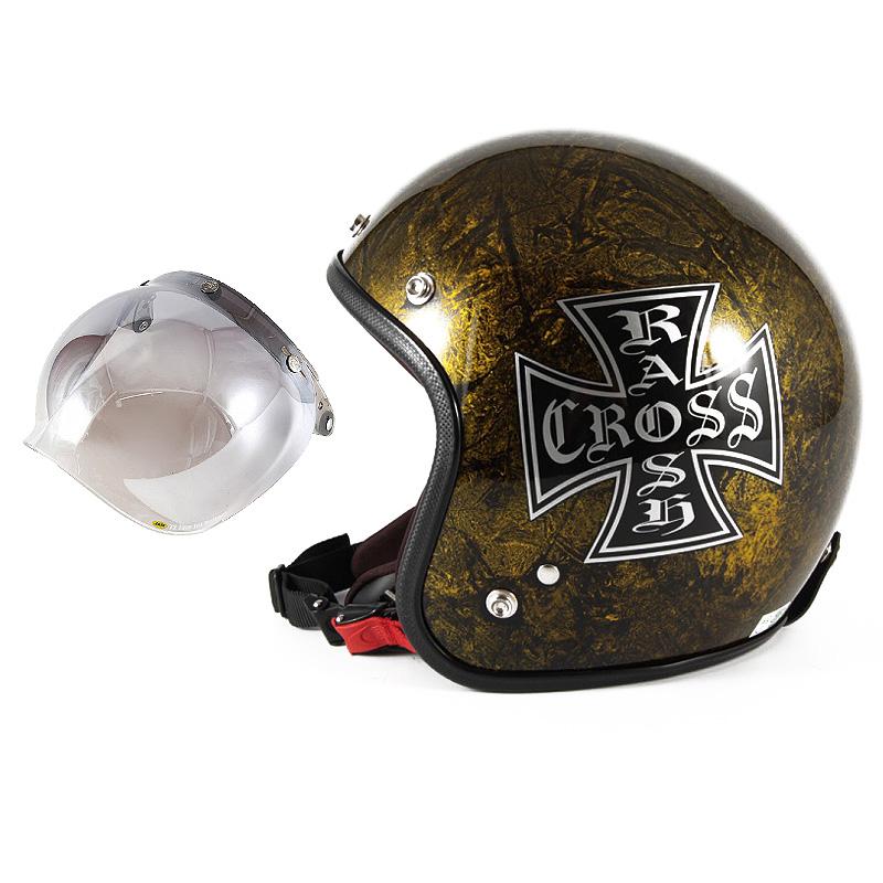 72JAM デザイナーズジェットヘルメット [JCP-13] 開閉シールド付き [JCBN-03]RASH CROSS ラッシュクロス ゴールド [ゴールドラップベースグロス仕上げ]FREEサイズ(57-60cm未満) メンズ レディース 兼用品 SG規格 全排気量対応