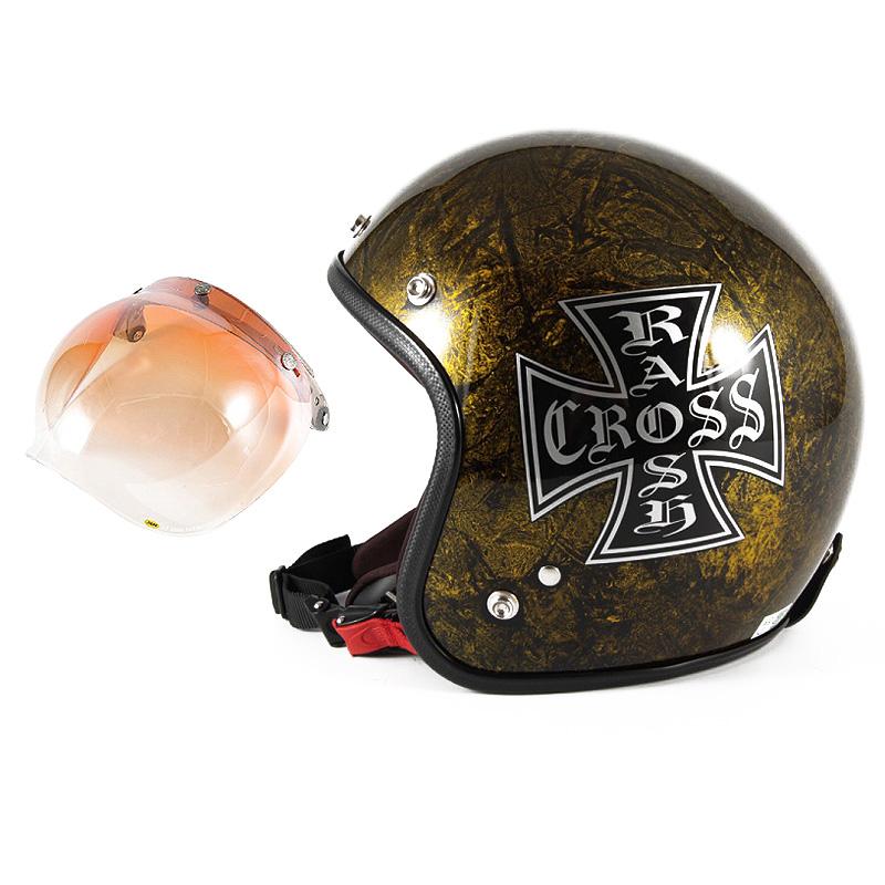 72JAM デザイナーズジェットヘルメット [JCP-13] 開閉シールド付き [JCBN-04]RASH CROSS ラッシュクロス ゴールド [ゴールドラップベースグロス仕上げ]FREEサイズ(57-60cm未満) メンズ レディース 兼用品 SG規格 全排気量対応