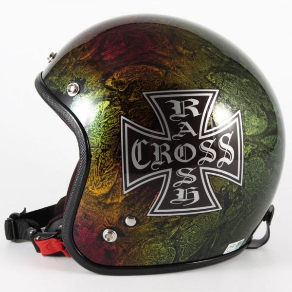 ジャムテックジャパン 72JAM JCP-14RASH CROSS ラッシュクロス レインボー ジェットヘルメット [レインボーラップベースグロス仕上げ]FREEサイズ(57-60cm未満) メンズ レディース 兼用品 SG規格 全排気量対応