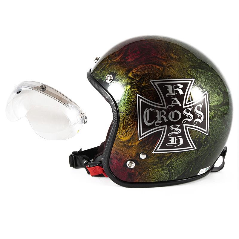 72JAM デザイナーズジェットヘルメット [JCP-14] 開閉シールド付き [APS-02]RASH CROSS ラッシュクロス レインボー [レインボーラップベースグロス仕上げ]FREEサイズ(57-60cm未満) メンズ レディース 兼用品 SG規格 全排気量対