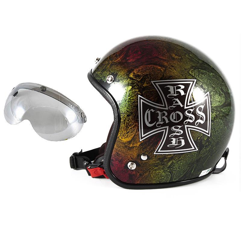 72JAM デザイナーズジェットヘルメット [JCP-14] 開閉シールド付き [APS-04]RASH CROSS ラッシュクロス レインボー [レインボーラップベースグロス仕上げ]FREEサイズ(57-60cm未満) メンズ レディース 兼用品 SG規格 全排気量対