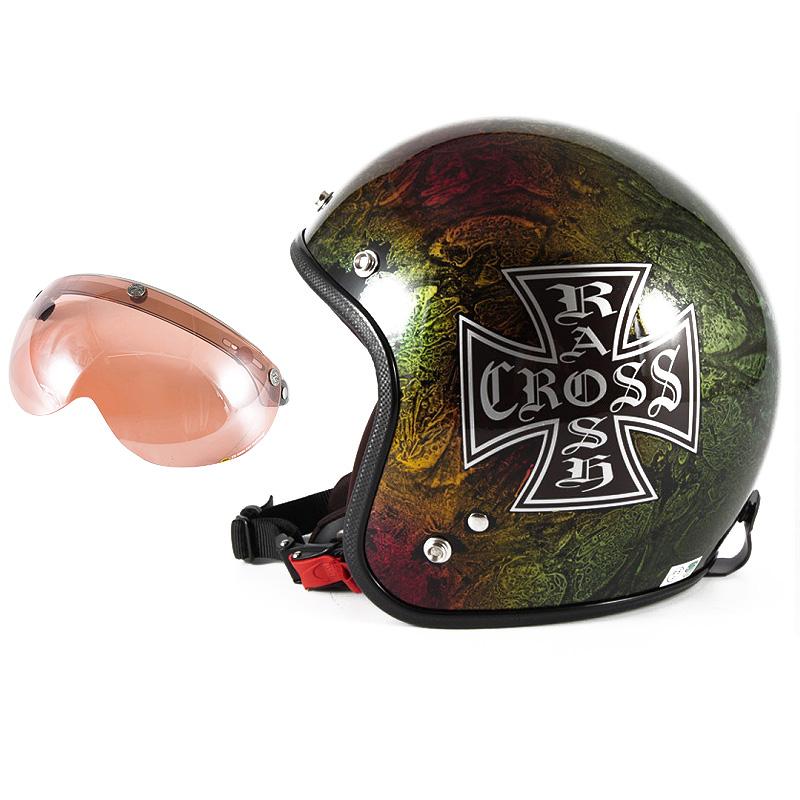 72JAM デザイナーズジェットヘルメット [JCP-14] 開閉シールド付き [APS-05]RASH CROSS ラッシュクロス レインボー [レインボーラップベースグロス仕上げ]FREEサイズ(57-60cm未満) メンズ レディース 兼用品 SG規格 全排気量対
