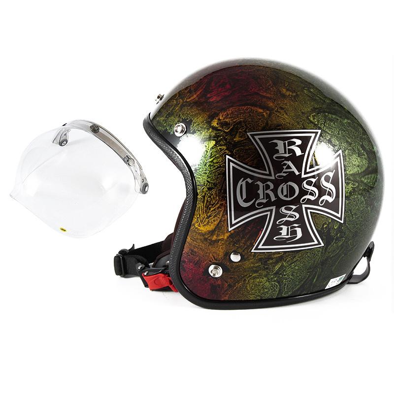 72JAM デザイナーズジェットヘルメット [JCP-14] 開閉シールド付き [JCBN-01]RASH CROSS ラッシュクロス レインボー [レインボーラップベースグロス仕上げ]FREEサイズ(57-60cm未満) メンズ レディース 兼用品 SG規格 全排気量対