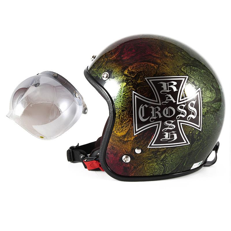 72JAM デザイナーズジェットヘルメット [JCP-14] 開閉シールド付き [JCBN-03]RASH CROSS ラッシュクロス レインボー [レインボーラップベースグロス仕上げ]FREEサイズ(57-60cm未満) メンズ レディース 兼用品 SG規格 全排気量対