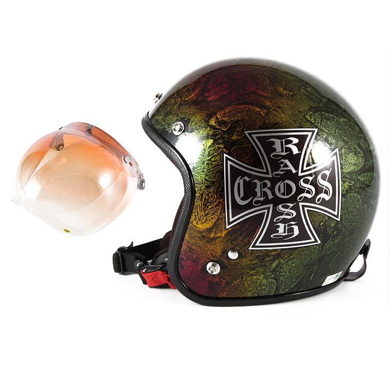 72JAM デザイナーズジェットヘルメット [JCP-14] 開閉シールド付き [JCBN-04]RASH CROSS ラッシュクロス レインボー [レインボーラップベースグロス仕上げ]FREEサイズ(57-60cm未満) メンズ レディース 兼用品 SG規格 全排気量対
