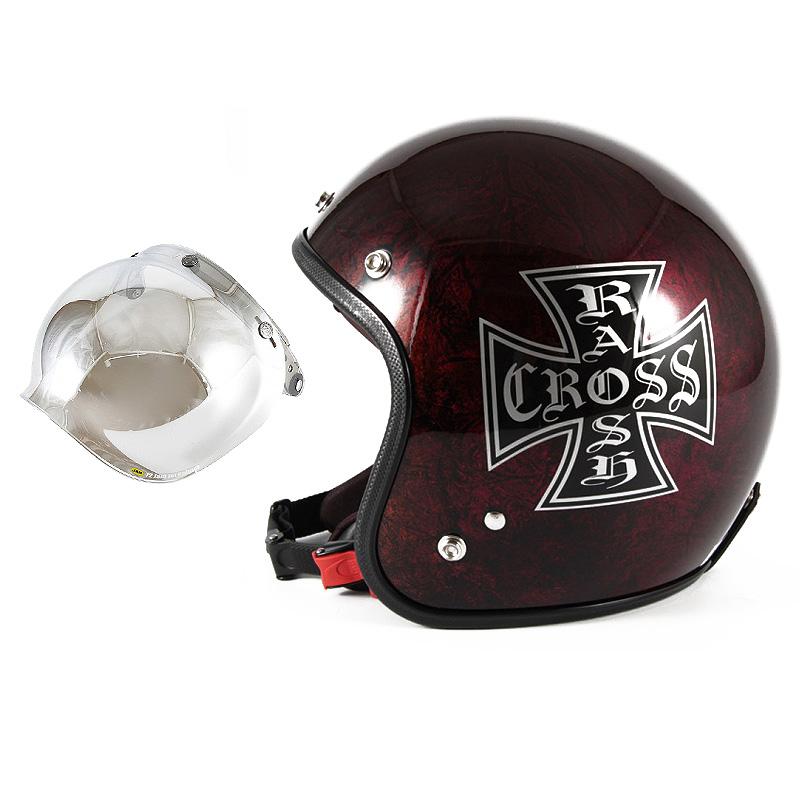 72JAM デザイナーズジェットヘルメット [JCP-15] 開閉シールド付き [JCBN-02]RASH CROSS ラッシュクロス レッド/ブラウン [レッドラップベースグロス仕上げ]FREEサイズ(57-60cm未満) メンズ レディース 兼用品 SG規格 全排気量対
