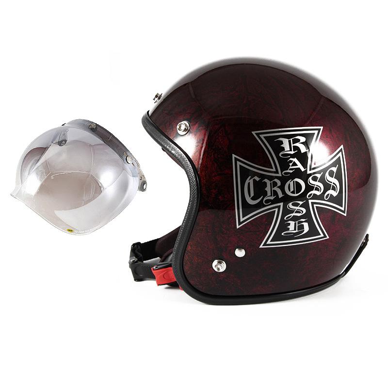72JAM デザイナーズジェットヘルメット [JCP-15] 開閉シールド付き [JCBN-03]RASH CROSS ラッシュクロス レッド/ブラウン [レッドラップベースグロス仕上げ]FREEサイズ(57-60cm未満) メンズ レディース 兼用品 SG規格 全排気量対